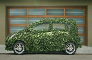Green Car with Garage