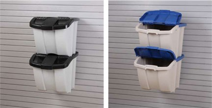 plastic flip top bins used as a recycling center dog food storage