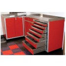 "Drawer Unit #362432DU shown with 4"" Toe Kick Riser™ & two Base Cabinets"