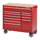 "WaterLoo Series 41"" W x 18"" D 11-Drawer Cabinet with Liner and Upgraded Casters, RED"