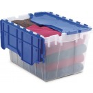 12 Gallon Plastic Storage KeepBox with Attached Lid - Semi clear with blue lid